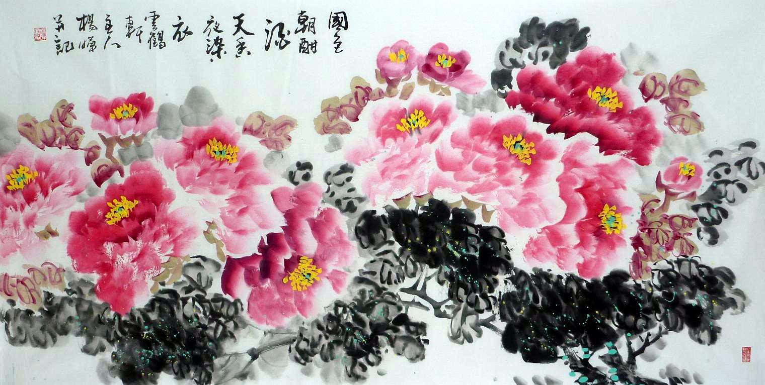 著名画家杨晖人物及牡丹作品