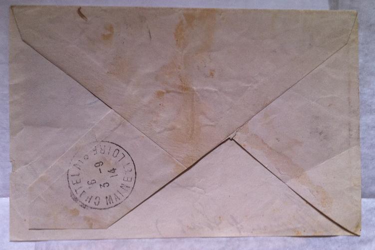 一战爆发极早期法在华客邮实寄封