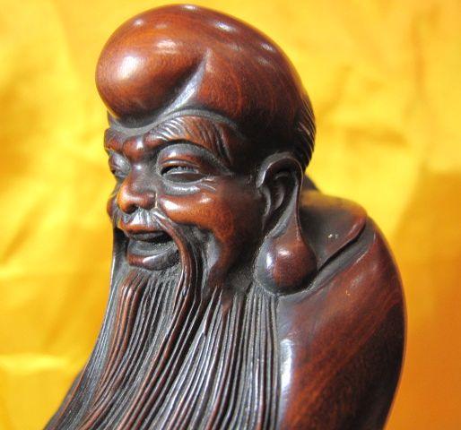 黄杨木雕老寿星和佛手如意玉坠两件