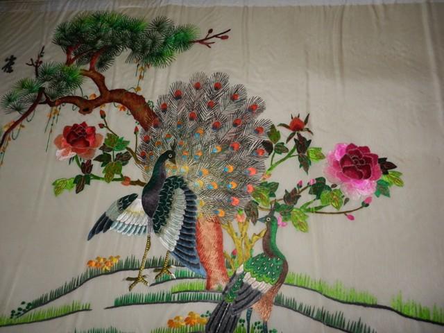 广式刺绣花鸟图二张,家居装饰一流