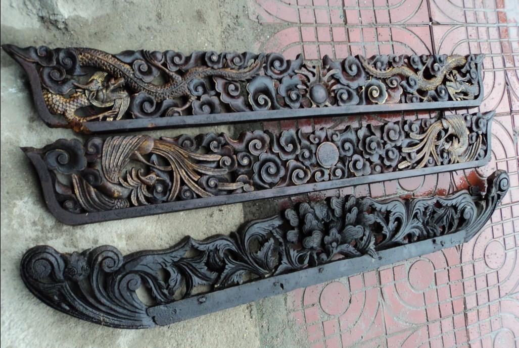 其它品种大卖场 古玩竹木雕漆器 → 祥云龙凤镂空花板3块