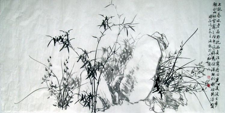 水墨画的梅兰竹菊各种图片psd素材,已发邮箱.