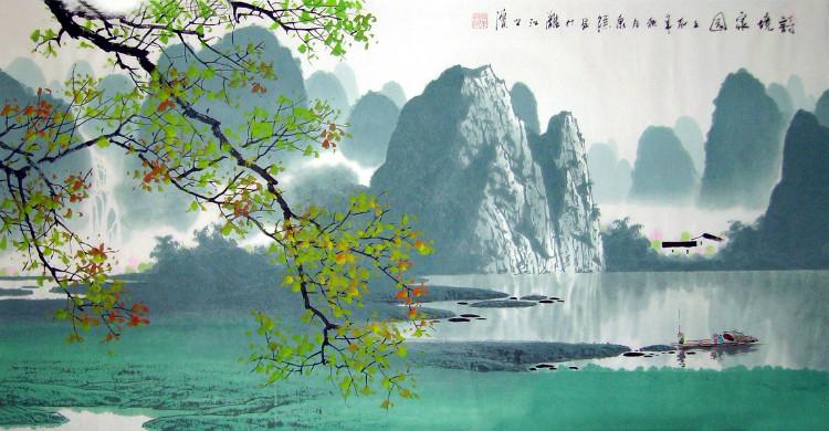 壁纸 风景 国画 山水 桌面 750_390
