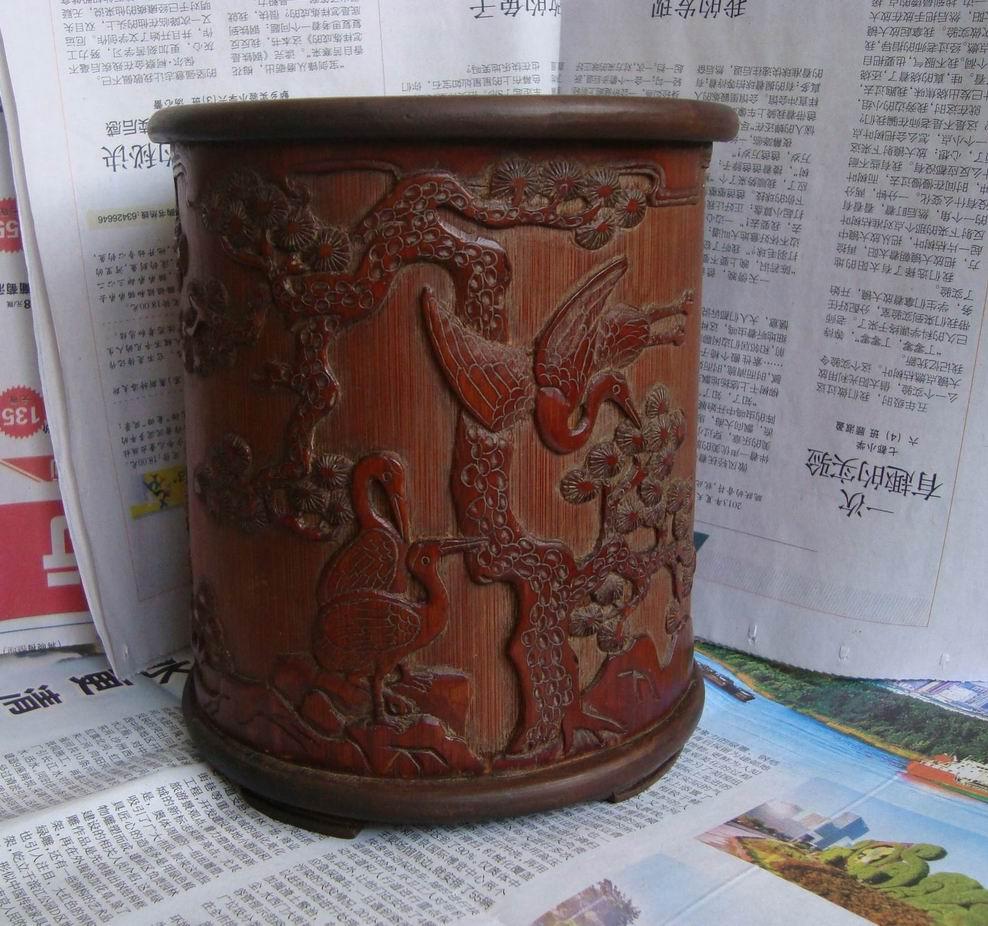 木雕大师笔桶作品图片