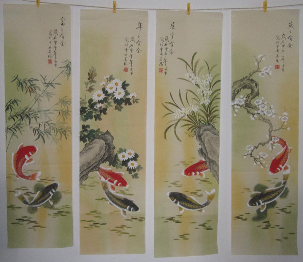 梅锦鲤水墨画高清背景素材