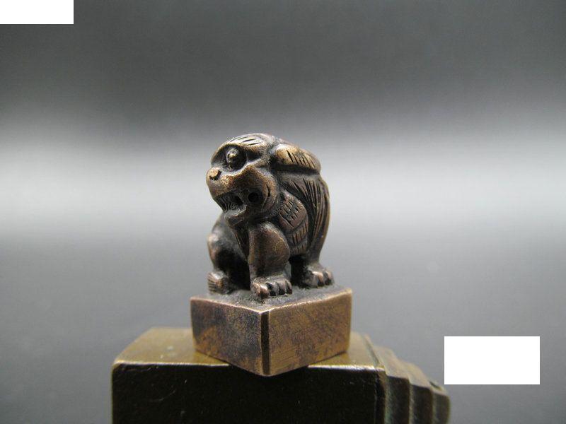 民国狮钮紫铜堂号铜印章