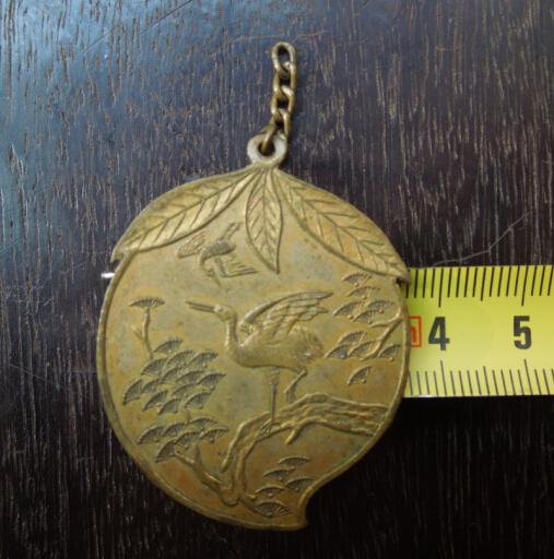 民国铜寿章.长寿仙桃仙鹤松树.背面有字