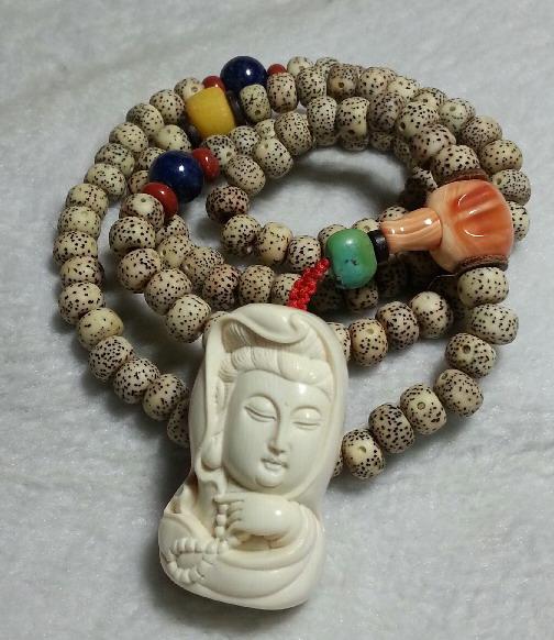 少见象牙雕佛佑观音配星月菩提多宝贵料藏式佛珠