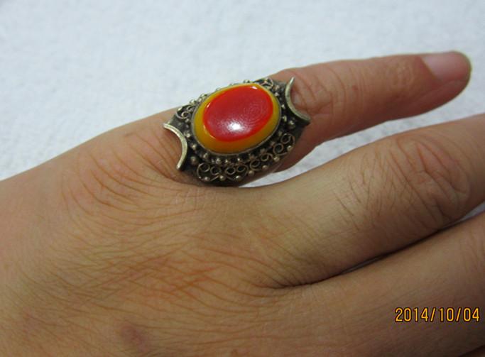 出售蓝珀挂坠,金珀链子,南红戒指3月27日   5#鹤顶红戒指,纯银